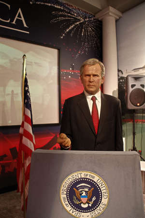 LAS VEGAS, NV/USA - Nov 05, 2011: A waxwork of George W. Bush on display at Madame Tussauds wash museum in Las Vegas Nevada.