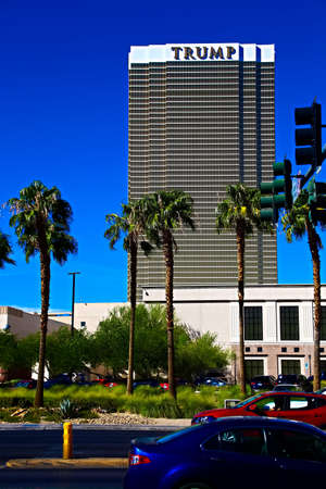 Las Vegas, USA - Sep 17, 2018: Trump International Hotel in Las Vegas, NV, named for real estate developer and politician Donald Trump. The luxury property's windows are gilded with 24-carat gold.