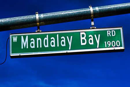 The Road sign of Mandalay Bay Road in Las Vegas.