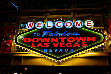 Welcome to Fabulous Downtown Las Vegas sign at Fremont Street in Las Vegas, USA.It is an internationally renowned resort city known primarily for gambling Foto de archivo