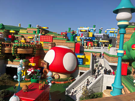 OSAKA, JAPAN - Apr 10, 2021 : Scenery at the entrance of Nintendo World.Super Nintendo World is a themed area at Universal Studios Japan. Editorial