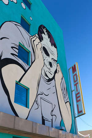 Las Vegas,NV,USA - Oct 31,2014 : Mural in Downtown Las Vegas,A mural is any piece of artwork painted directly on a wall or other large permanent surface.