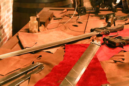Osaka,Japan - Mar 24,2016: Close up of 3D Maneuver Gear Sword and 3D Mobile device from Attack on Titan / Shingeki no Kyojin.at Universal Studios Japan.