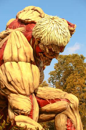 "Osaka, Japan-January 21, 2017: Life-size armor giant statue, from ""Attack on Titan""(Shingeki no Kyojin), Universal Studios Japan, Osaka, Japan 報道画像"