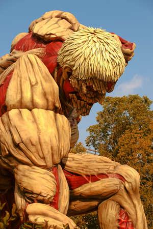 Osaka, Japan-January 21, 2017: Life-size armor giant statue, from