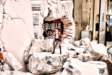 Kobe,Japan - Aug 07,2020 : `Attack on Titan` Shingeki no Kyojin exhibition held at Daimaru Kobe store and many of its exhibits