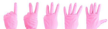 Counting with hand in a rubber glove photo