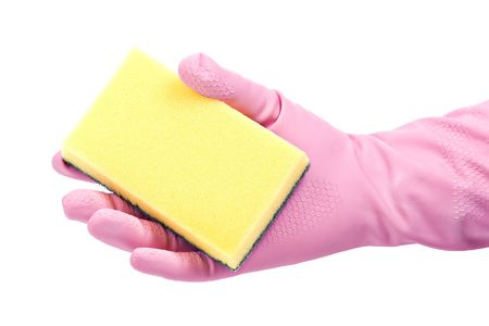 Hand in rubber glove with a sponge photo