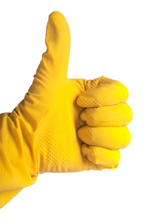Thumb up in yellow rubber glove photo