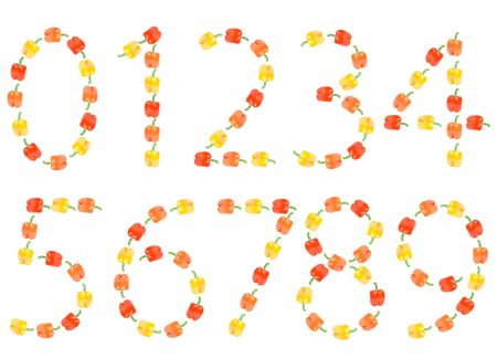 Numbers from zero to nine made of paprika photo