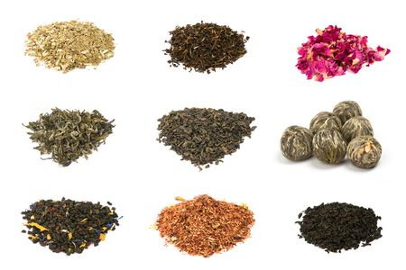 Floral, herbal, green and black tea photo