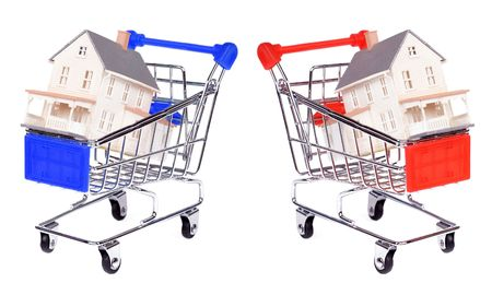 push cart: Concept: shopping for a house Stock Photo
