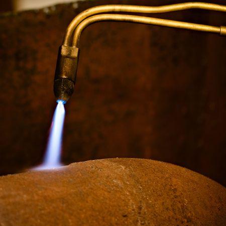 Gas torch  Metal cutting Stock Photo