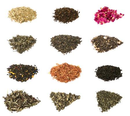Ensemble de 12 types de th� diff�rents (vert, noir, oolong, floral et plantes m�dicinales) isol�es sur fond blanc