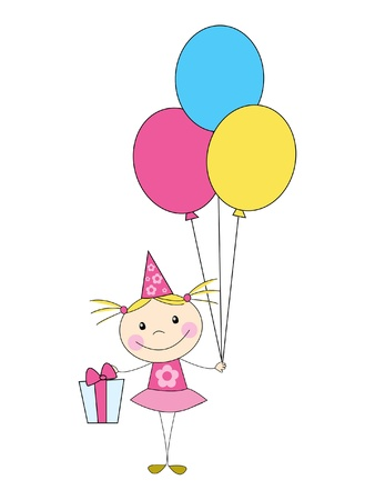 Girl with balloons and gifts - Birthday card Vector