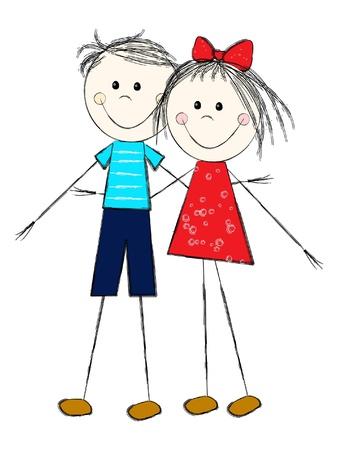 Boy and girl - romantic couple Stock Vector - 10412972