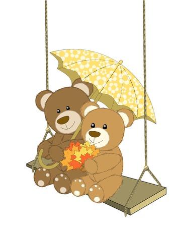 yellow umbrella: Romantic couple of bears under yellow umbrella Illustration