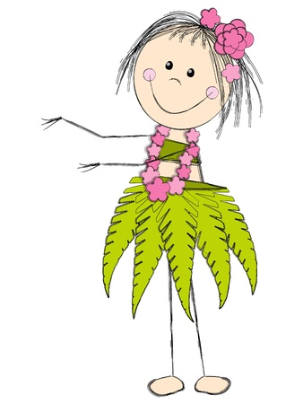 romantic getaway: Girl dancing in Hawaiian costume Illustration