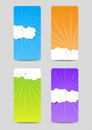 wallpaper image: Set of colorful banners with clouds