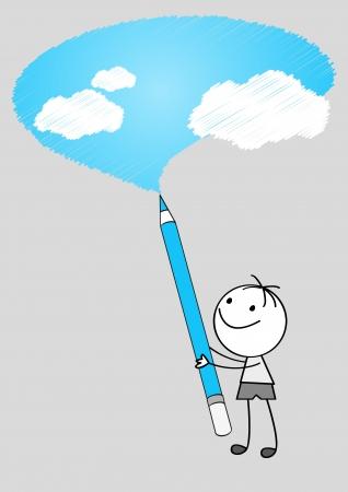 Doodle boy drawing sky Stock Vector - 14729315