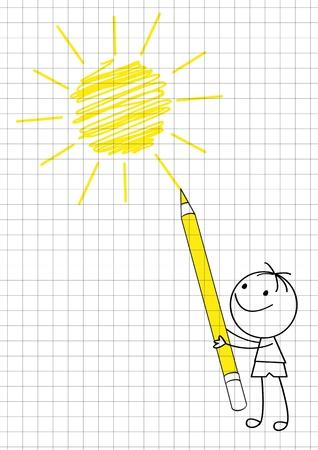 Doodle boy drawing sun Stock Vector - 14729310