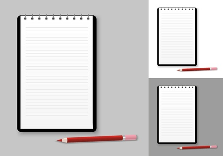 Notebook background with red pencil Stock Vector - 14729229