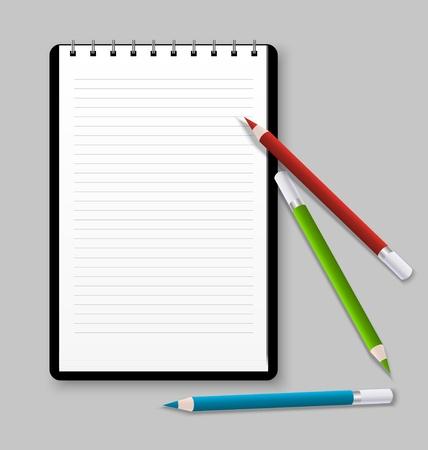 Notebook with three color pencils Vector