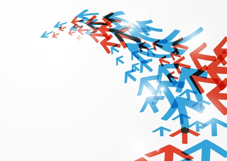 teamwork success: Abstract background with blue and red arrows