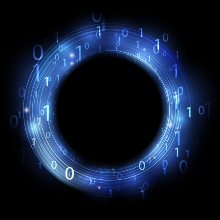 wallpaper rings: Blue ring with binary code - concept of information