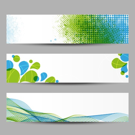 blue spotted: Set of abstract banners with green and blue pattern