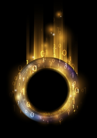 Glowing ring with binary code - concept of information Vector