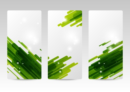 Set of abstract green banners