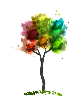 Vector illustration of watercolor tree Stock Vector - 14728949