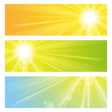 Set of bright sunny banners