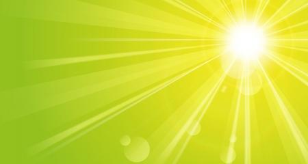schittering: Glanzende groene achtergrond met zon