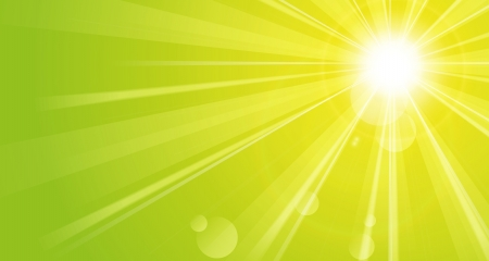 Shiny green background with sunshine Vector
