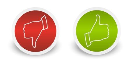 Thumb up down buttons stickers Illusztráció