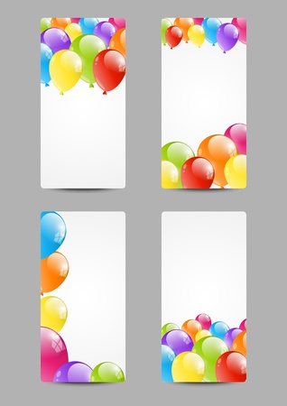 Set of Birthday banners with balloon Vector