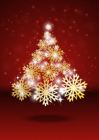Shiny Christmas tree with lights Stock Vector - 14812142