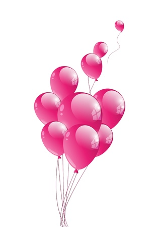 Vector illustration of glossy pink balloon