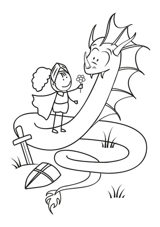Kind Knight gives the Dragon a flower - the concept of pacifism Vector