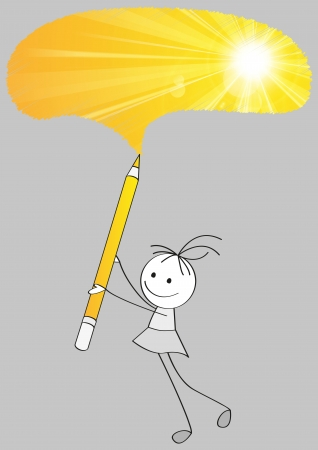 Cute little girl drawing sun Vector