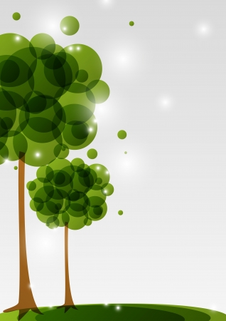 Green trees background with place for text Vector