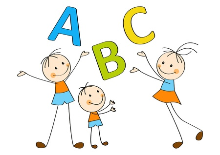 back to back couple: Happy children with letters A, B, C