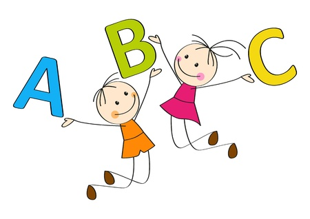Jumping kids with letters A, B, C Vector