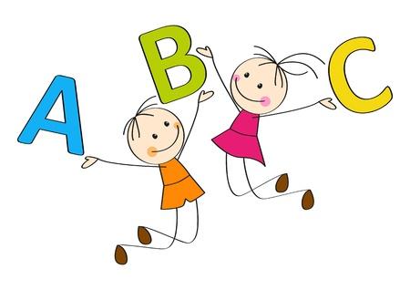 escuela caricatura: Ni�os saltando con las letras A, B, C