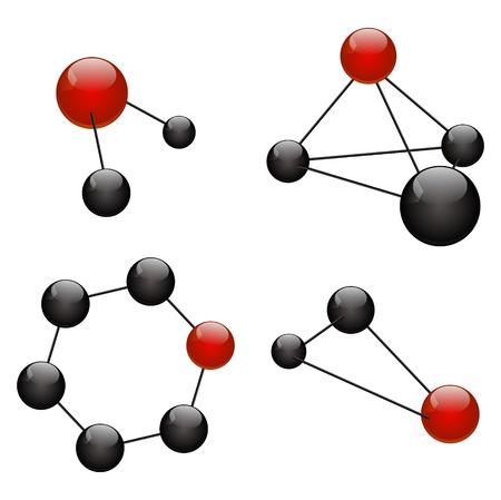 Set of abstract molecular icons Vetores