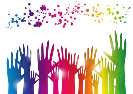 Party background with rainbow hands Vector