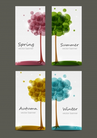 Set of four seasons banners Illustration