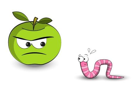 ver de terre cartoon: Apple est en regardant le ver de peur